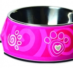 Miska ROGZ Bubble Pink Paw M (350ml)